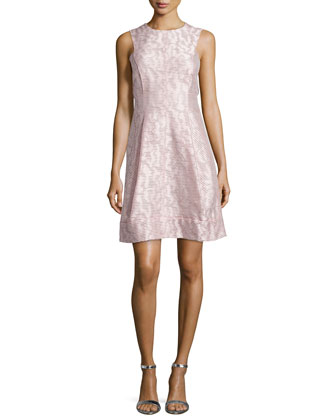 Sleeveless Jacquard Dress, Rose
