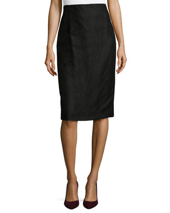 Striped Lace Pencil Skirt, Black