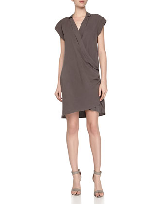 Draped-Front Silk Wrap Dress, Lead
