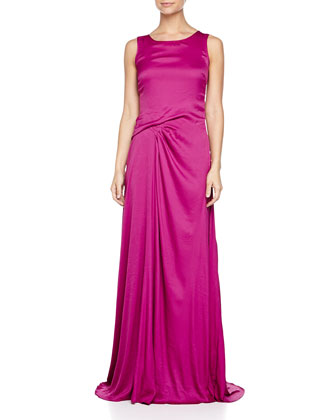 Tank Gathered Gown, Magenta