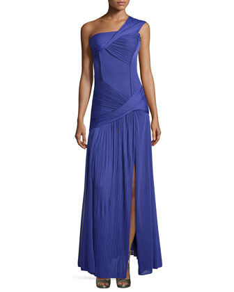 Ruched One-Shoulder Gown, Violet
