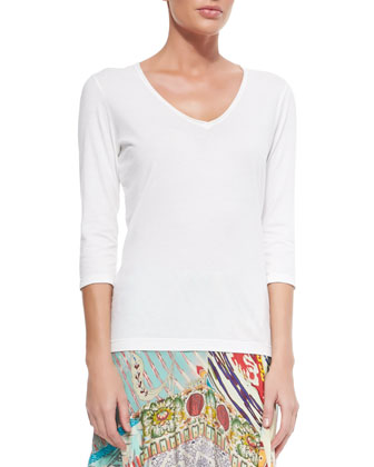 3/4-Sleeve V-Neck Tee, Floral Crochet Vest & Mix Print Long Skirt