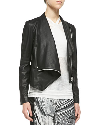 Kiln Draped Leather Jacket, Corrosion Sleeveless Slub Top & Method ...