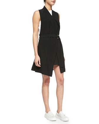 Torison Long Belted Crepe Vest, Corrosion Sleeveless Slub Top, High-Neck ...