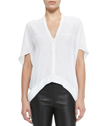 Axio Short-Sleeve Cropped Crepe Blouse & Pull-On Leather Leggings