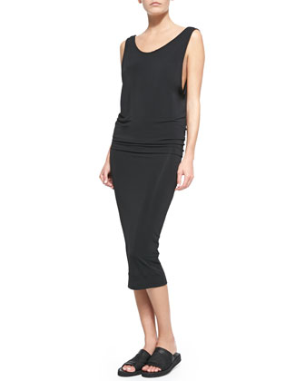 Faint Sleeveless Blouson Jersey Dress