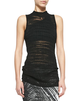 Sheer Sleeveless Long Fitted Sweater