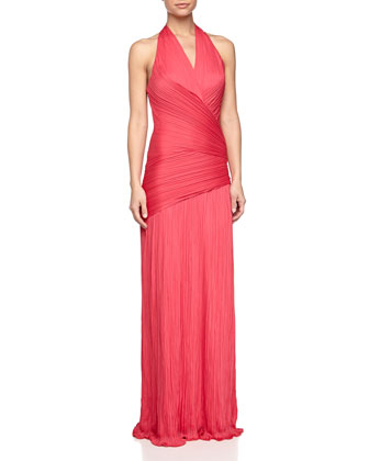 Pleated Wrap-Waist Halter Gown, Fuchsia
