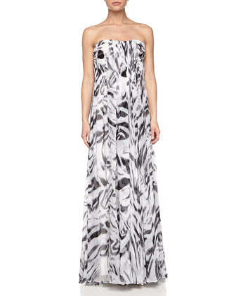 Strapless Printed Crinkled Chiffon Gown