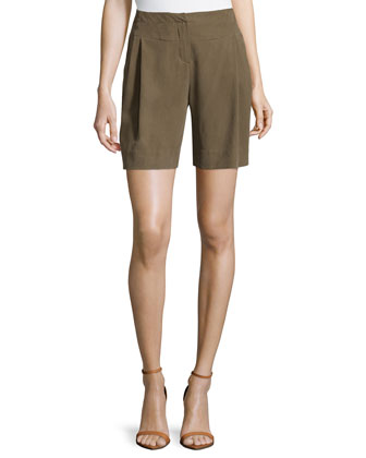 High-Waisted Pleated Silk Shorts, Fatigue