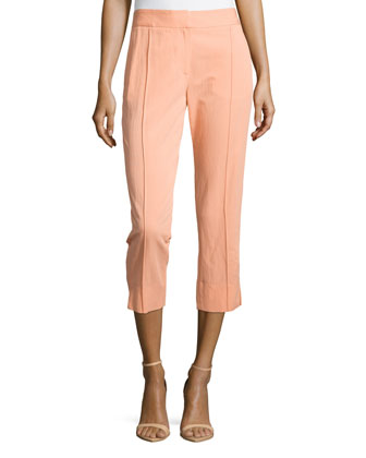 Creased-Front Skinny Ankle Pants, Nectar