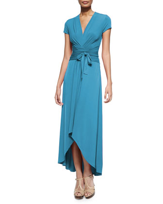 High-Low Wrap Jersey Dress