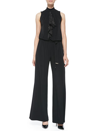 Wide-Leg Jumpsuit W/ Dotted Ruffle