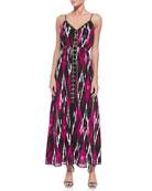 Menera Printed Lace-Up Maxi Dress