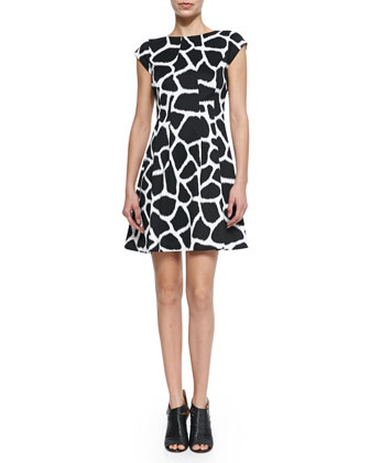 Antalia Giraffe-Print Flare Dress