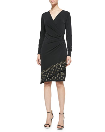 Long-Sleeve Grommet-Hem Wrap Dress, Women's