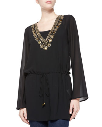 Embellished Drawstring Top