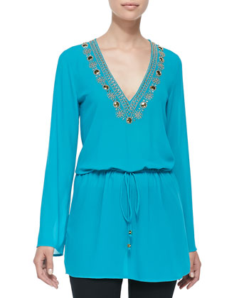 Embellished-Neck Top W/ Drawstring