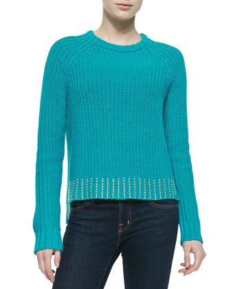 Crewneck Sweater with Studded Hem, Blue