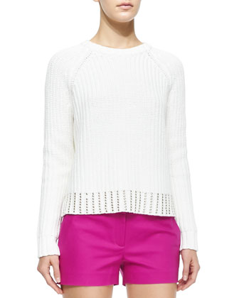 Crewneck Sweater with Studded Hem & Stretch Cotton Mini Shorts