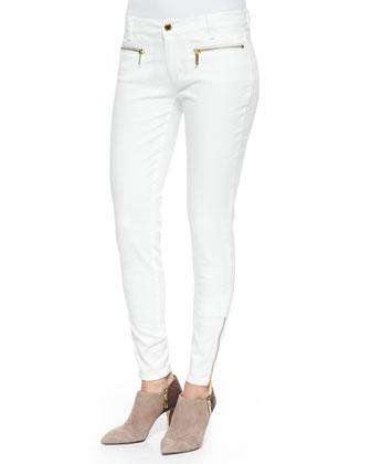 Zipper-Cuff Skinny Jeans, White