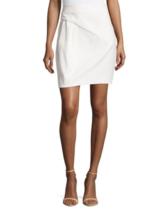 Twill Draped Pencil Skirt, Cream