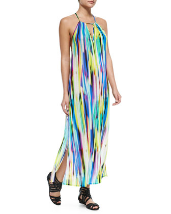Brushstroke-Print Racerback Maxi Dress