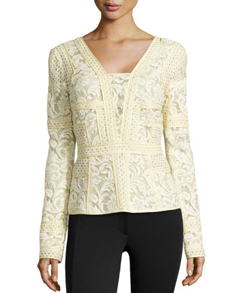 Long-Sleeve Floral Lace Top, Soleil