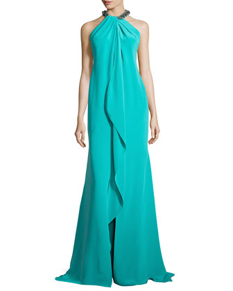 Ruffled-Front Gown with Beaded Halter Neckline