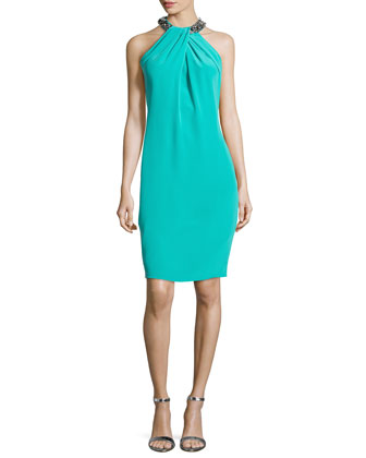 Bead-Neck Toga Cocktail Dress, Jade