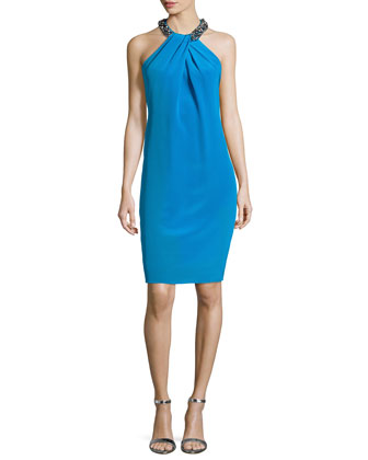 Cocktail Dress with Beaded Halter Neckline, Turquoise