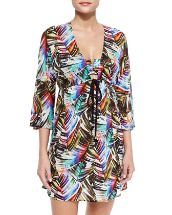 Ava Palm-Print Tunic Coverup