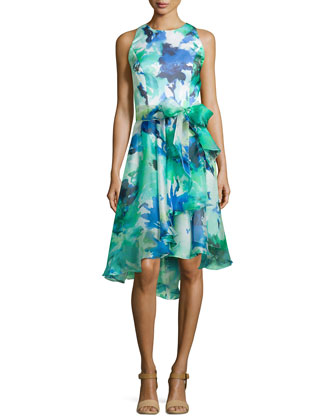 Sleeveless Floral Printed Cocktail Dress