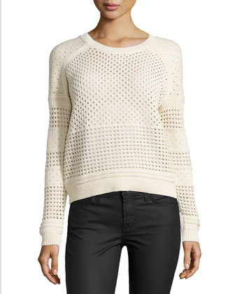 Perforated Mixed-Knit Sweater, Cream