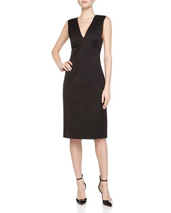 Jacquard V-Neck Sheath Dress, Black