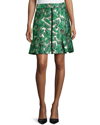 Leaf Jacquard Skirt W/ Pleated Hem, Cargo