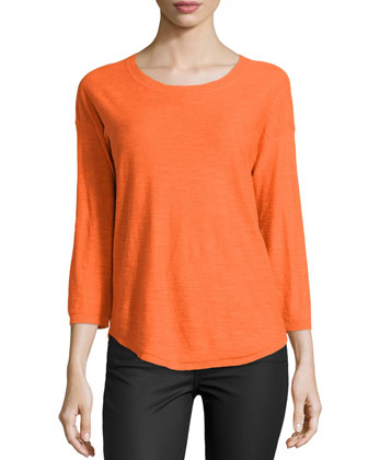 3/4-Sleeve Shirttail Sweater, Flame