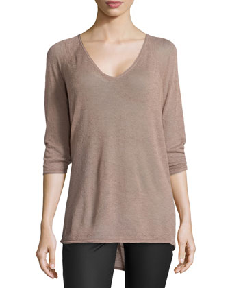 3/4-Sleeve High-Low Sweater, Mauve