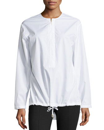 Long-Sleeve Drawstring-Hem Shirt