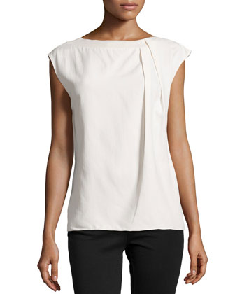 Cap-Sleeve Asymmetric Silk Pleated Top, Bone