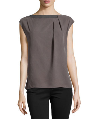 Cap-Sleeve Boatneck Top with Pleats