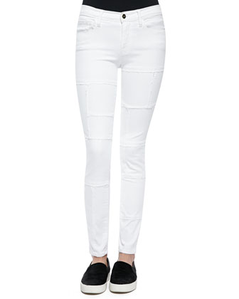 Le Skinny Panel Denim Jeans, Blanc