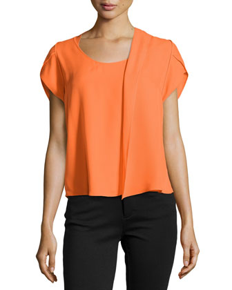 Short-Sleeve Silk Top with Scarf Detail