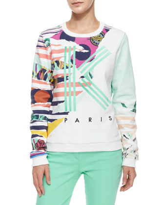 Striped Flowers Logo Sweatshirt