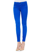8428 Cropped Zip-Hem Skinny-Fit Jeans, Electric Blue