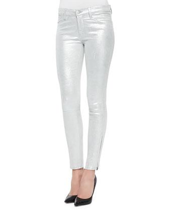 Metallic Suede Skinny-Fit Jeans, Silver Shadow