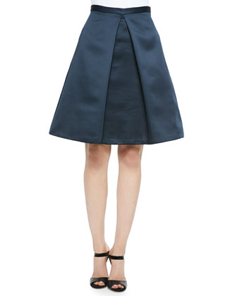 Pleated Satin A-Line Skirt