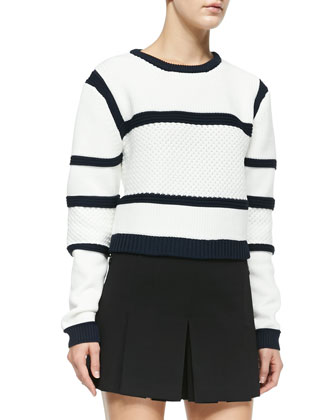 Sailor Striped Mixed-Knit Sweater