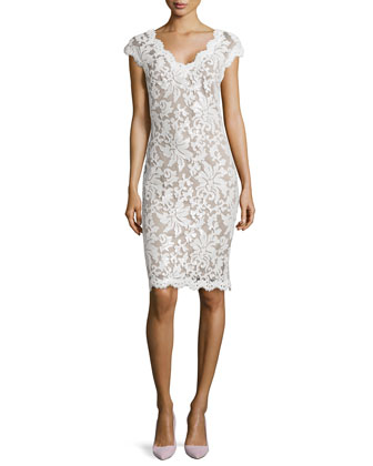 Lace Cap-Sleeve Sequined Cocktail Dress
