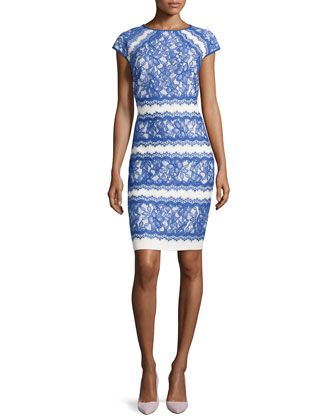 Cap-Sleeve Tiered Lace Cocktail Dress, Blue/Snow